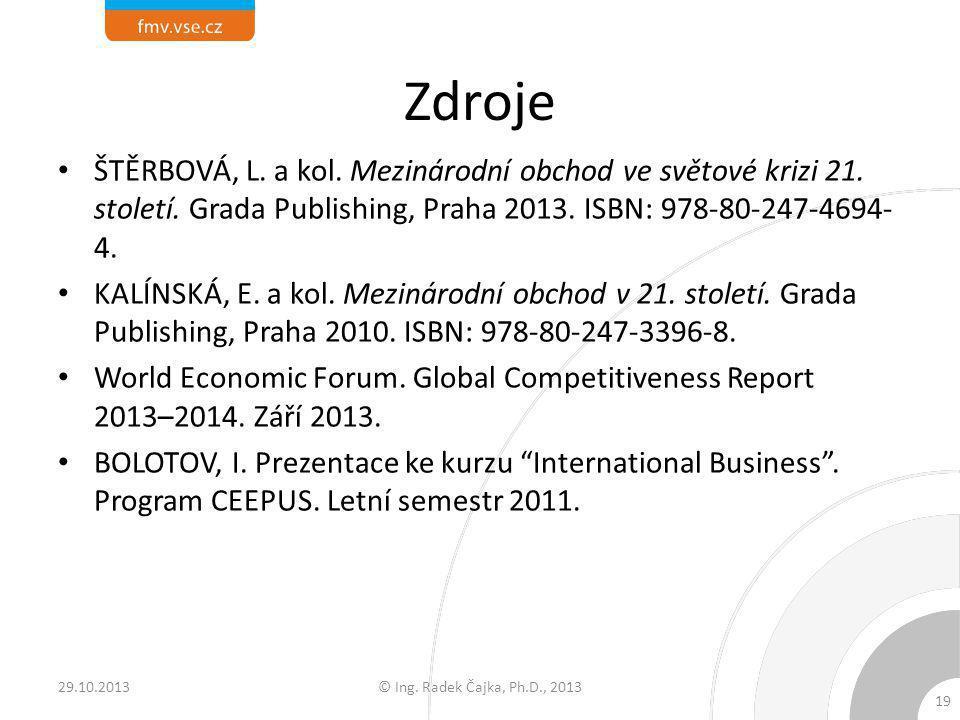 Zdroje ŠTĚRBOVÁ, L. a kol. Mezinárodní obchod ve světové krizi 21. století. Grada Publishing, Praha 2013. ISBN: 978-80-247-4694- 4. KALÍNSKÁ, E. a kol