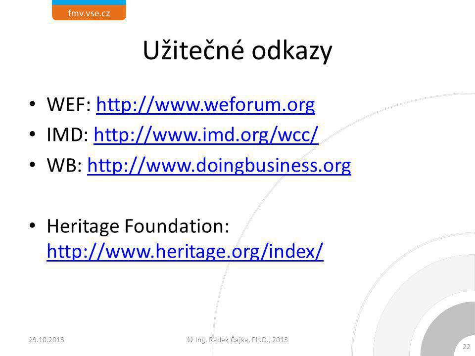 Užitečné odkazy WEF: http://www.weforum.orghttp://www.weforum.org IMD: http://www.imd.org/wcc/http://www.imd.org/wcc/ WB: http://www.doingbusiness.org