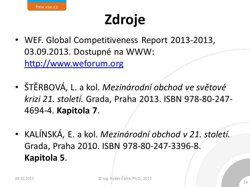 Zdroje WEF. Global Competitiveness Report 2013-2013, 03.09.2013. Dostupné na WWW: http://www.weforum.org http://www.weforum.org ŠTĚRBOVÁ, L. a kol. Me