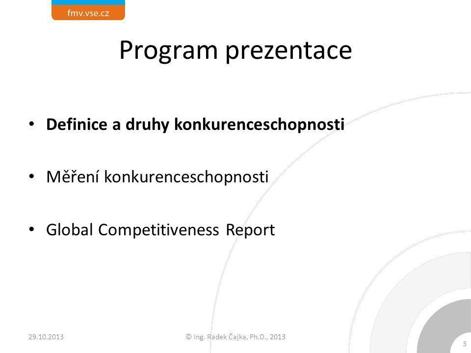 Program prezentace Definice a druhy konkurenceschopnosti Měření konkurenceschopnosti Global Competitiveness Report 29.10.2013© Ing. Radek Čajka, Ph.D.