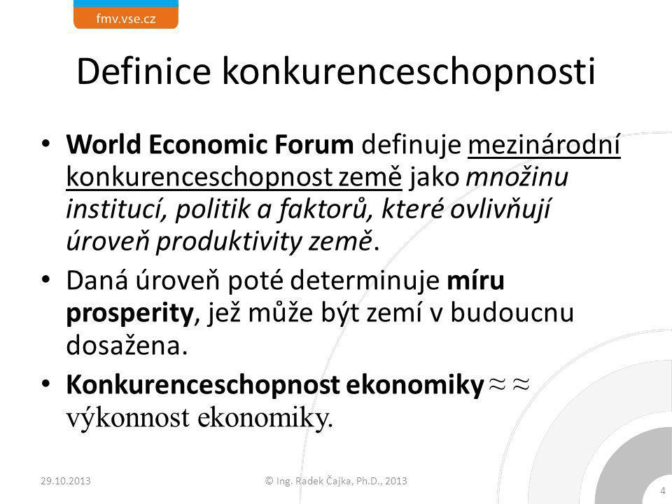 Definice konkurenceschopnosti Z předchozího vyplývá, že koncept konkurenceschopnosti má dvě úrovně, statickou i dynamickou: – míra produktivity země určuje její schopnost zachovat si danou hodnotu příjmů v rámci ekonomiky (statický pohled), – zároveň ovšem determinuje výnosnost investic, což je jeden z hlavních potenciálů budoucího růstu (dynamický pohled).