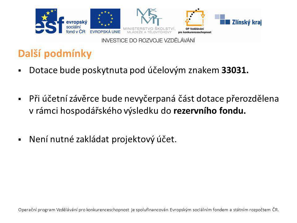 Operační program Vzdělávání pro konkurenceschopnost je spolufinancován Evropským sociálním fondem a státním rozpočtem ČR.