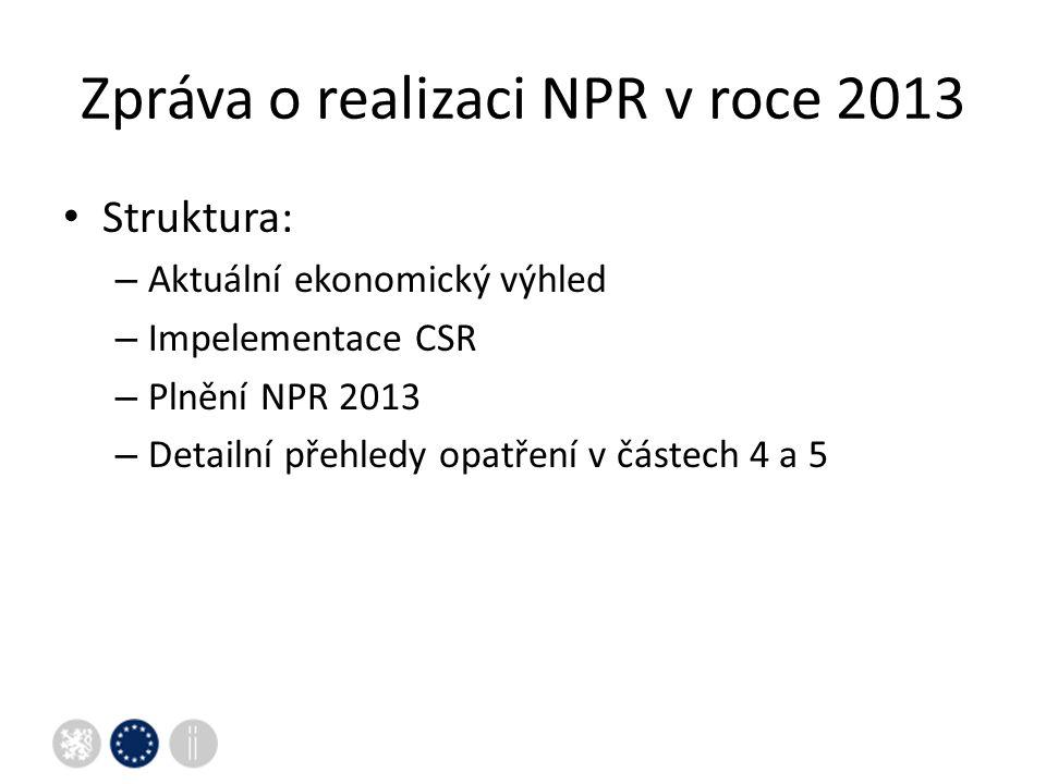Zpráva o realizaci NPR v roce 2013 Struktura: – Aktuální ekonomický výhled – Impelementace CSR – Plnění NPR 2013 – Detailní přehledy opatření v částech 4 a 5