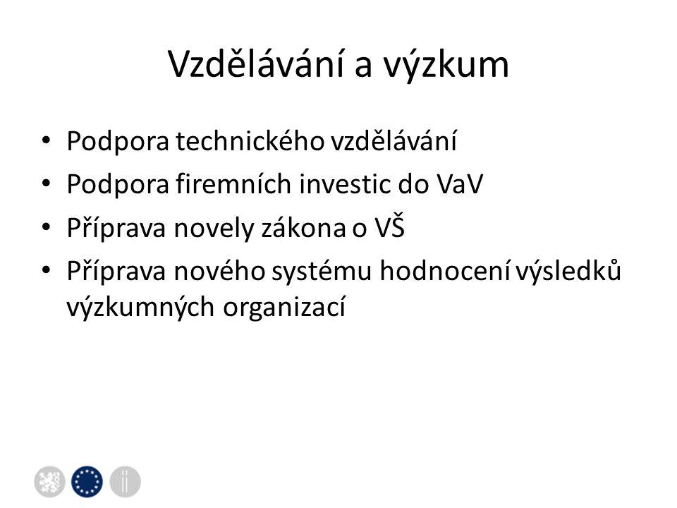 Vzdělávání a výzkum Podpora technického vzdělávání Podpora firemních investic do VaV Příprava novely zákona o VŠ Příprava nového systému hodnocení výsledků výzkumných organizací