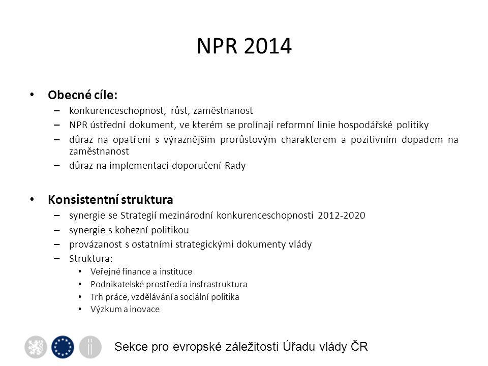 NPR 2014 Sekce pro evropské záležitosti Úřadu vlády ČR Obecné cíle: – konkurenceschopnost, růst, zaměstnanost – NPR ústřední dokument, ve kterém se prolínají reformní linie hospodářské politiky – důraz na opatření s výraznějším prorůstovým charakterem a pozitivním dopadem na zaměstnanost – důraz na implementaci doporučení Rady Konsistentní struktura – synergie se Strategií mezinárodní konkurenceschopnosti 2012-2020 – synergie s kohezní politikou – provázanost s ostatními strategickými dokumenty vlády – Struktura: Veřejné finance a instituce Podnikatelské prostředí a insfrastruktura Trh práce, vzdělávání a sociální politika Výzkum a inovace