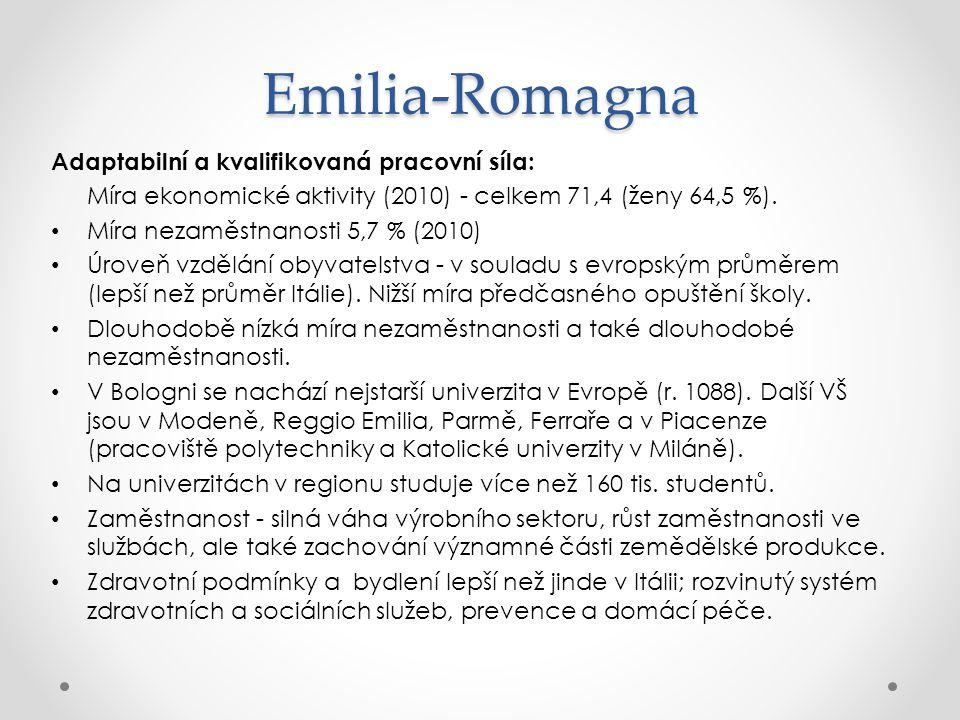 Emilia-Romagna Adaptabilní a kvalifikovaná pracovní síla: Míra ekonomické aktivity (2010) - celkem 71,4 (ženy 64,5 %). Míra nezaměstnanosti 5,7 % (201