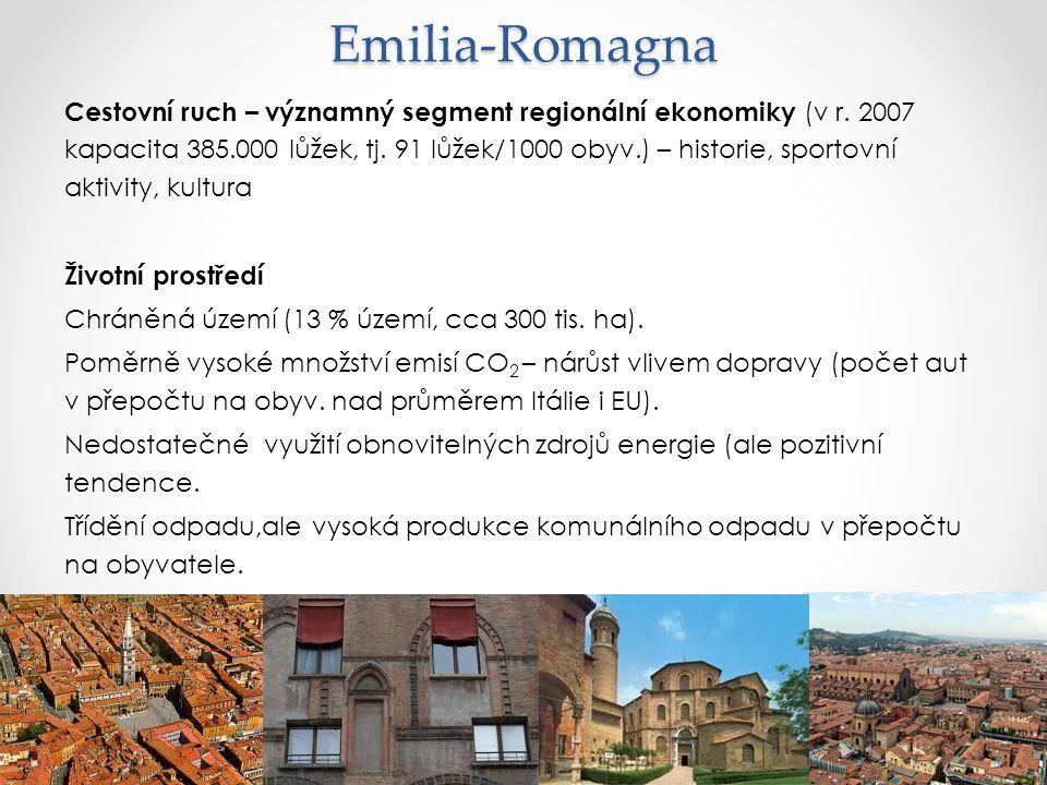 Emilia-Romagna Cestovní ruch – významný segment regionální ekonomiky (v r. 2007 kapacita 385.000 lůžek, tj. 91 lůžek/1000 obyv.) – historie, sportovní
