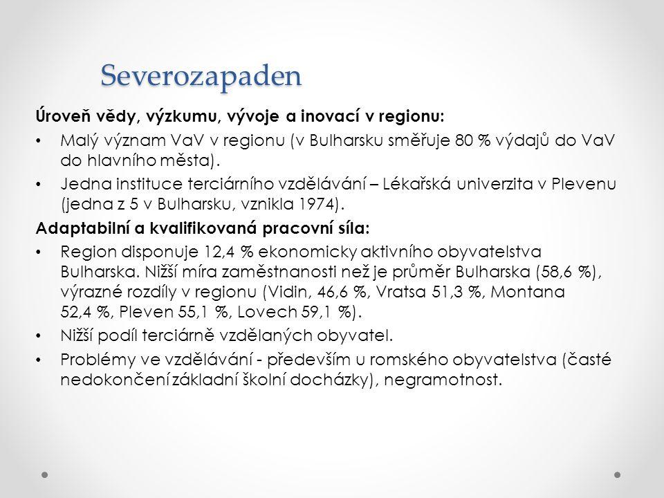 Severozapaden Úroveň vědy, výzkumu, vývoje a inovací v regionu: Malý význam VaV v regionu (v Bulharsku směřuje 80 % výdajů do VaV do hlavního města).