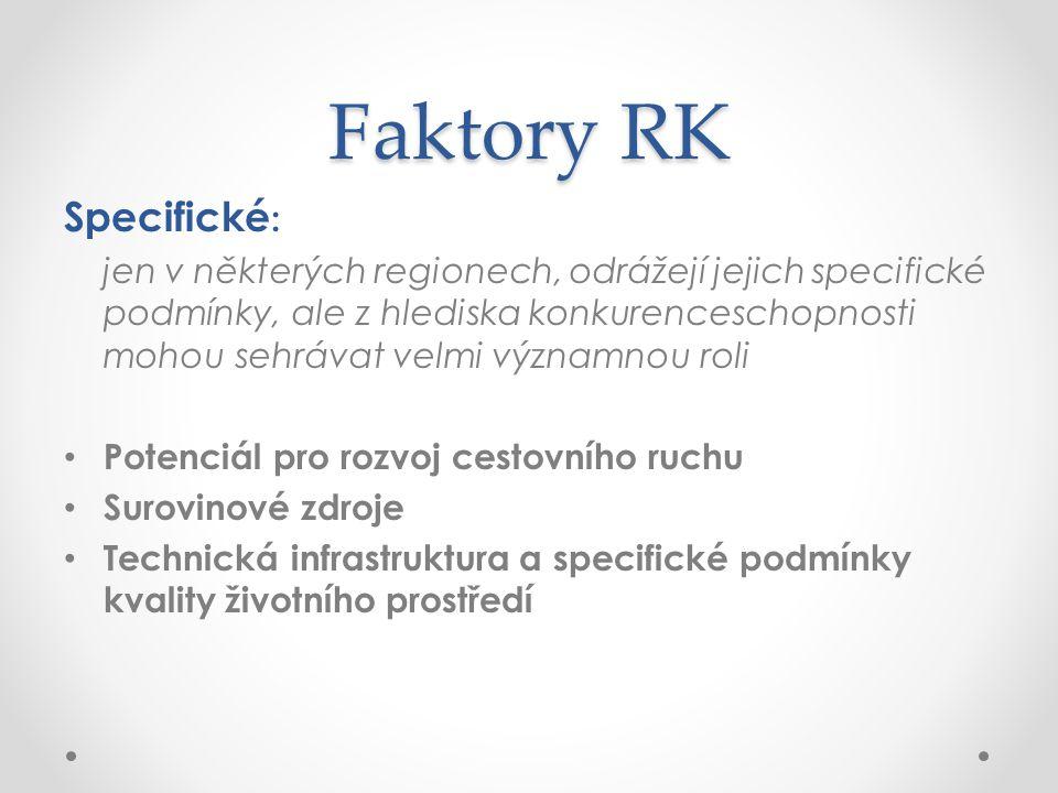 Faktory RK Specifické : jen v některých regionech, odrážejí jejich specifické podmínky, ale z hlediska konkurenceschopnosti mohou sehrávat velmi význa