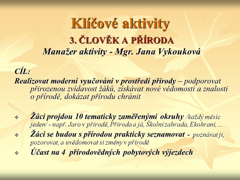 Klíčové aktivity 3. ČLOVĚK A PŘÍRODA Manažer aktivity - Mgr.