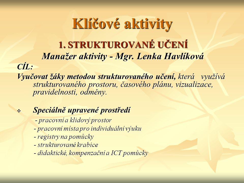 Klíčové aktivity 1.STRUKTUROVANÉ UČENÍ Manažer aktivity - Mgr.