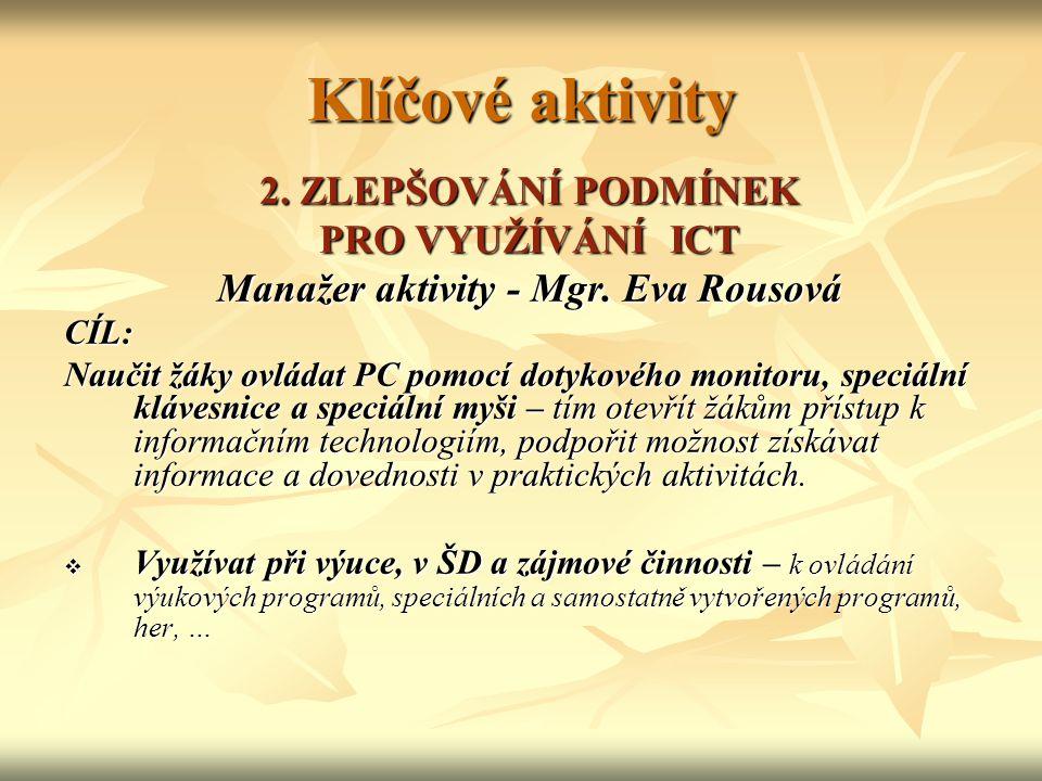 Klíčové aktivity 2.ZLEPŠOVÁNÍ PODMÍNEK PRO VYUŽÍVÁNÍ ICT Manažer aktivity - Mgr.