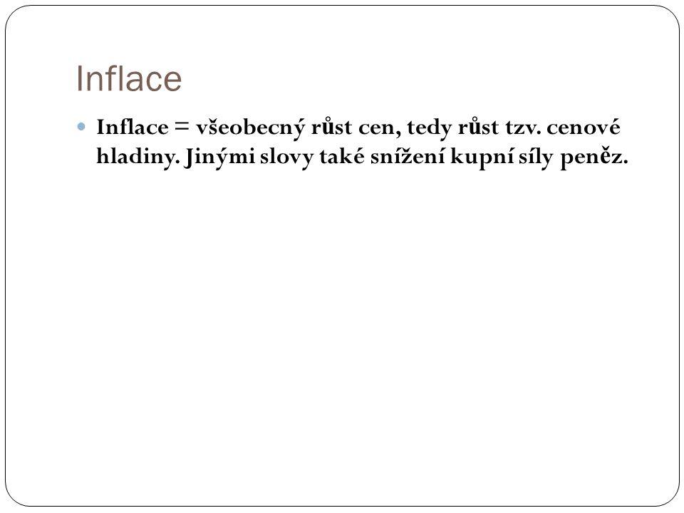 Inflace Inflace = všeobecný r ů st cen, tedy r ů st tzv. cenové hladiny. Jinými slovy také snížení kupní síly pen ě z.
