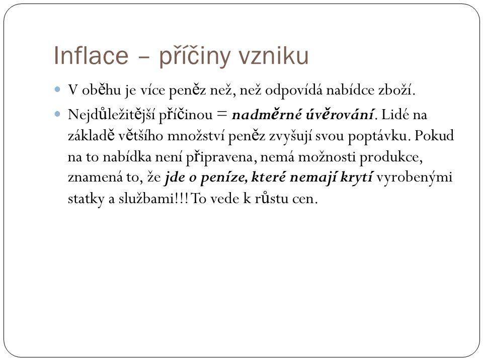 Inflace – příčiny vzniku V ob ě hu je více pen ě z než, než odpovídá nabídce zboží.