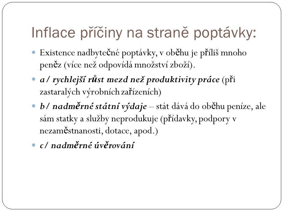 Inflace příčiny na straně poptávky: Existence nadbyte č né poptávky, v ob ě hu je p ř íliš mnoho pen ě z (více než odpovídá množství zboží). a/ rychle