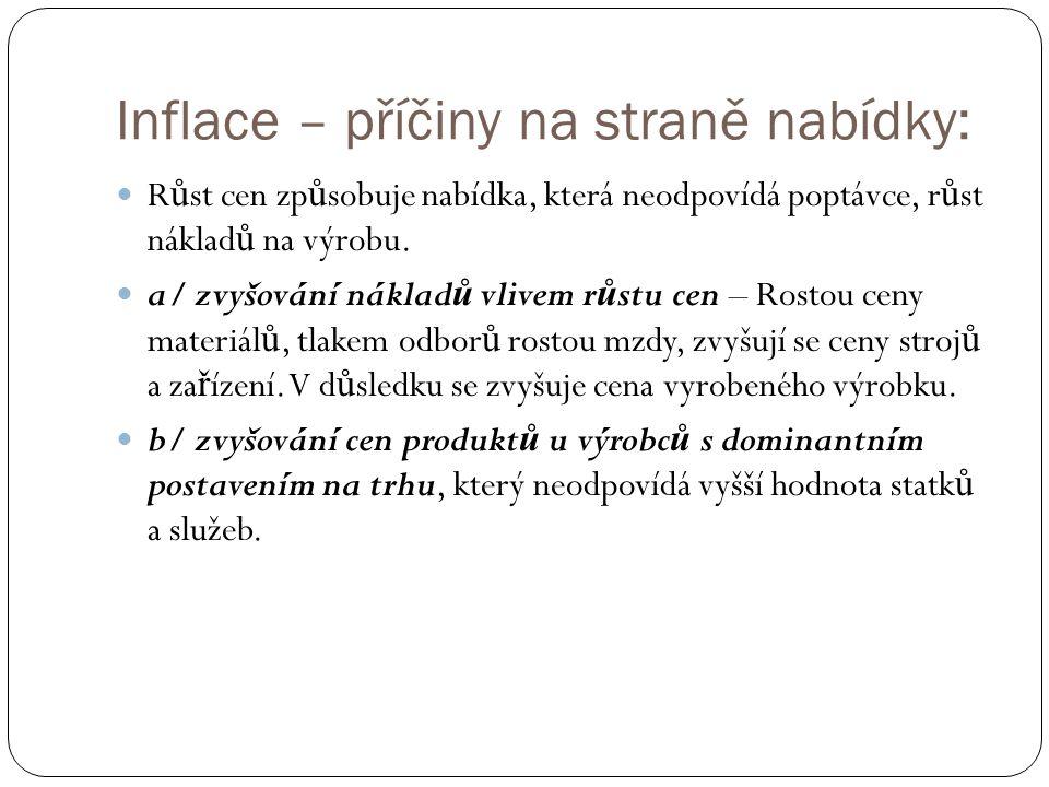 Inflace – příčiny na straně nabídky: R ů st cen zp ů sobuje nabídka, která neodpovídá poptávce, r ů st náklad ů na výrobu.