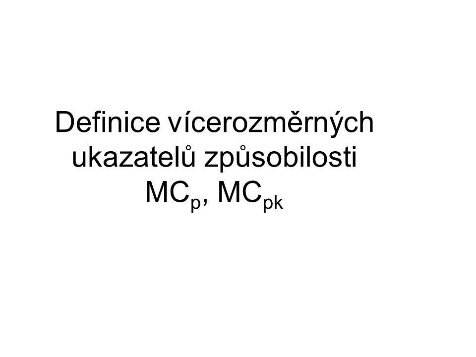 Jednorozměrná verze C p = (USL – LSL)/6σ pro normálně rozdělený znak kvality C p = (USL – LSL)/(q 1-α – q α ) pro nenormálně rozdělený znak kvality α = 0,135% a q jsou příslušné kvantily