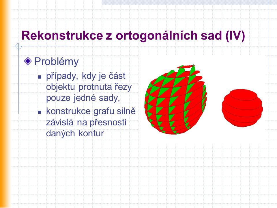 Rekonstrukce z ortogonálních sad (IV) Problémy případy, kdy je část objektu protnuta řezy pouze jedné sady, konstrukce grafu silně závislá na přesnost