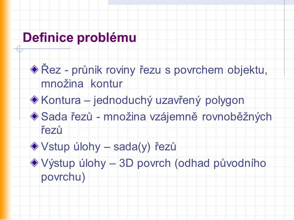 Definice problému Řez - průnik roviny řezu s povrchem objektu, množina kontur Kontura – jednoduchý uzavřený polygon Sada řezů - množina vzájemně rovno