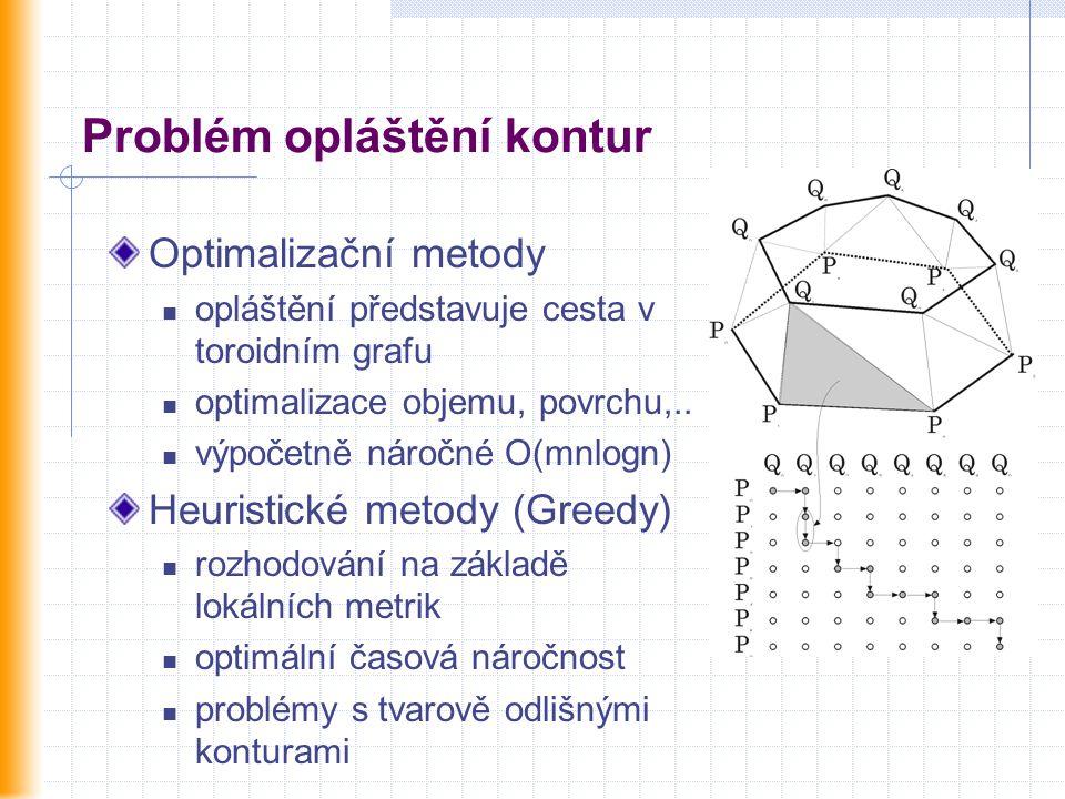 Problém opláštění kontur Optimalizační metody opláštění představuje cesta v toroidním grafu optimalizace objemu, povrchu,.. výpočetně náročné O(mnlogn