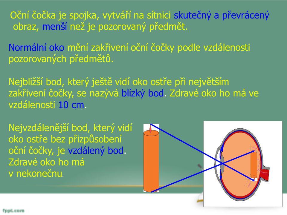 Oční čočka je spojka, vytváří na sítnici skutečný a převrácený obraz, menší než je pozorovaný předmět. Normální oko mění zakřivení oční čočky podle vz
