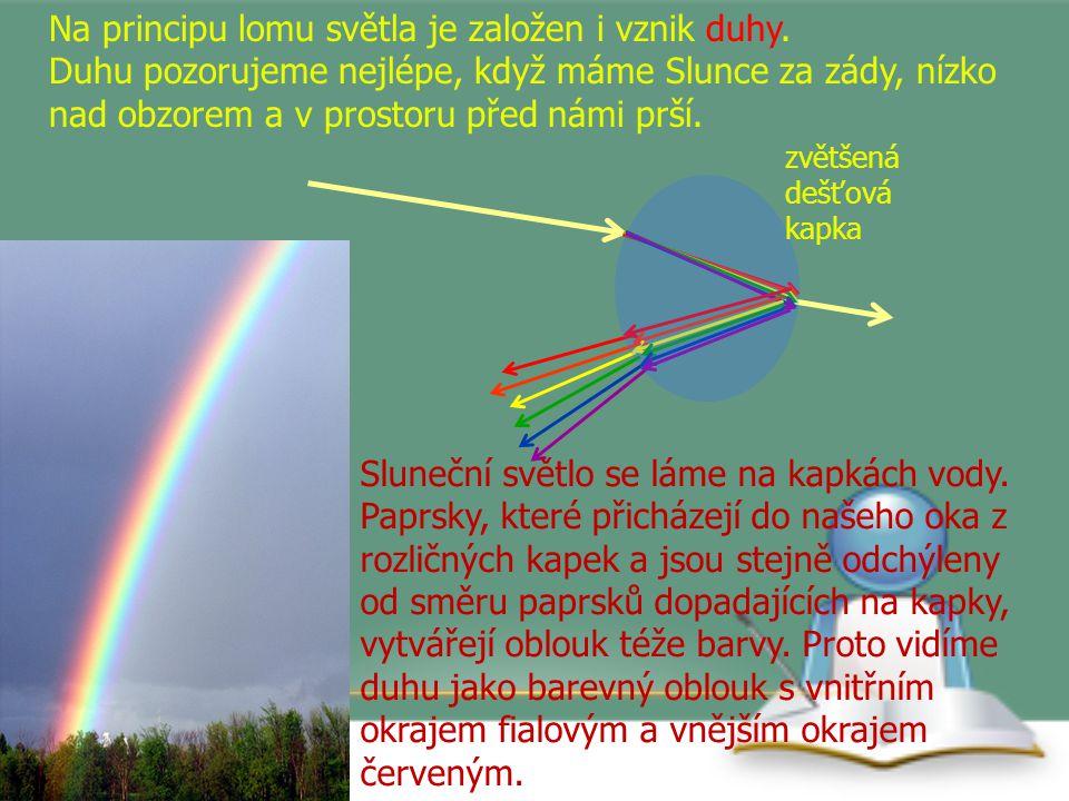 Na principu lomu světla je založen i vznik duhy. Duhu pozorujeme nejlépe, když máme Slunce za zády, nízko nad obzorem a v prostoru před námi prší. Slu