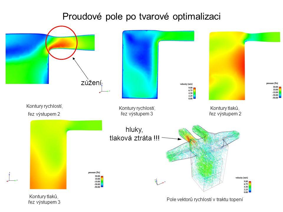 Proudové pole po tvarové optimalizaci Kontury rychlostí, řez výstupem 2 Kontury rychlostí, řez výstupem 3 Kontury tlaků, řez výstupem 2 Kontury tlaků, řez výstupem 3 Pole vektorů rychlostí v traktu topení hluky, tlaková ztráta !!.