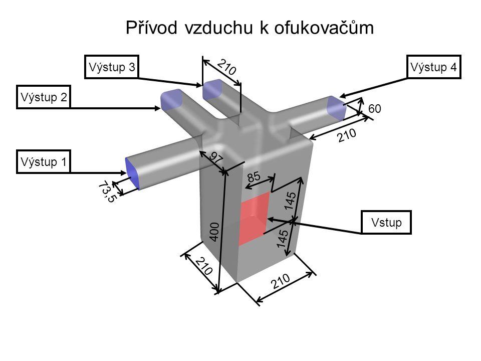 Vstup Výstup 1 Výstup 2 Výstup 3Výstup 4 Přívod vzduchu k ofukovačům 400 210 97 210 73,5 60 210 145 85