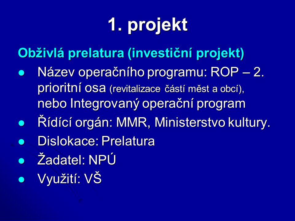 1. projekt Obživlá prelatura (investiční projekt) Název operačního programu: ROP – 2. prioritní osa (revitalizace částí měst a obcí), nebo Integrovaný