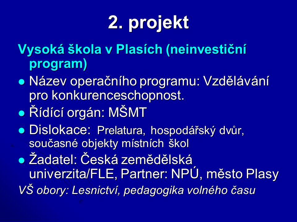 2. projekt Vysoká škola v Plasích (neinvestiční program) Název operačního programu: Vzdělávání pro konkurenceschopnost. Název operačního programu: Vzd