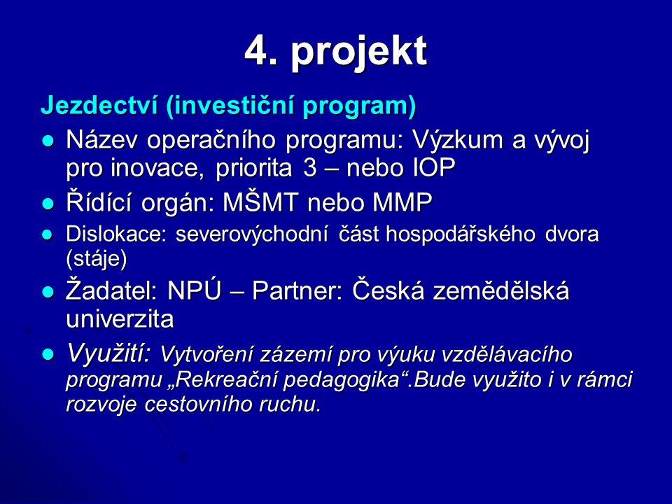 4. projekt Jezdectví (investiční program) Název operačního programu: Výzkum a vývoj pro inovace, priorita 3 – nebo IOP Název operačního programu: Výzk