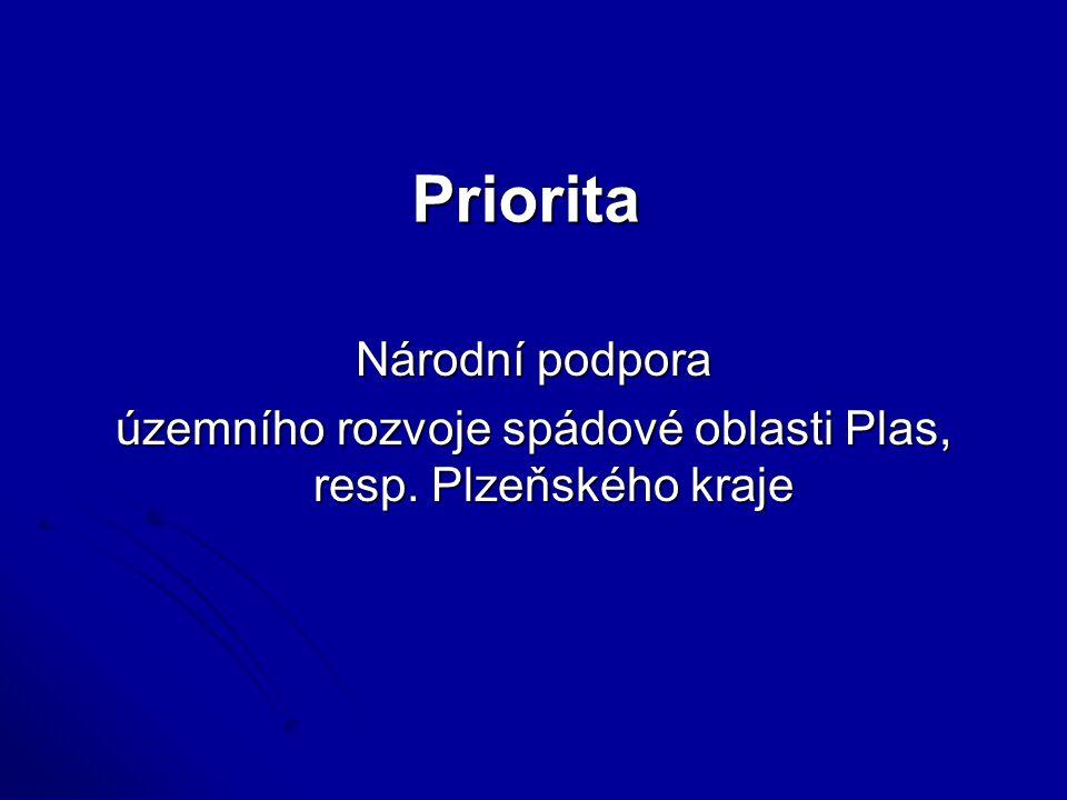 Priorita Národní podpora územního rozvoje spádové oblasti Plas, resp. Plzeňského kraje