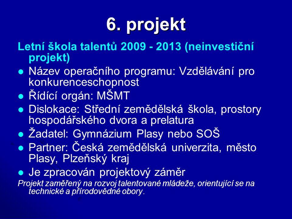 6. projekt Letní škola talentů 2009 - 2013 (neinvestiční projekt) Název operačního programu: Vzdělávání pro konkurenceschopnost Řídící orgán: MŠMT Dis
