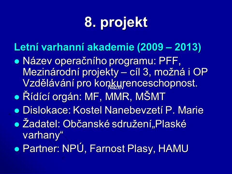 8. projekt Letní varhanní akademie (2009 – 2013) Název operačního programu: PFF, Mezinárodní projekty – cíl 3, možná i OP Vzdělávání pro konkurencesch