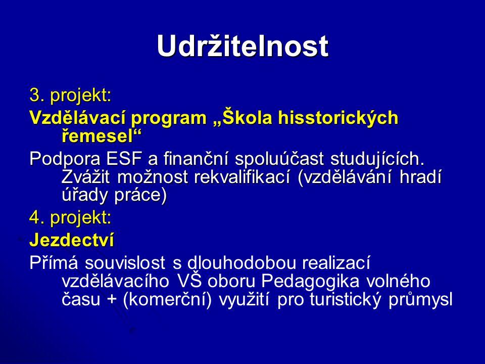"""Udržitelnost 3. projekt: Vzdělávací program """"Škola hisstorických řemesel"""" Podpora ESF a finanční spoluúčast studujících. Zvážit možnost rekvalifikací"""