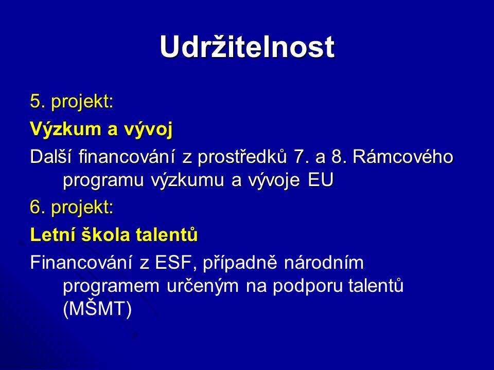 Udržitelnost 5. projekt: Výzkum a vývoj Další financování z prostředků 7. a 8. Rámcového programu výzkumu a vývoje EU 6. projekt: Letní škola talentů