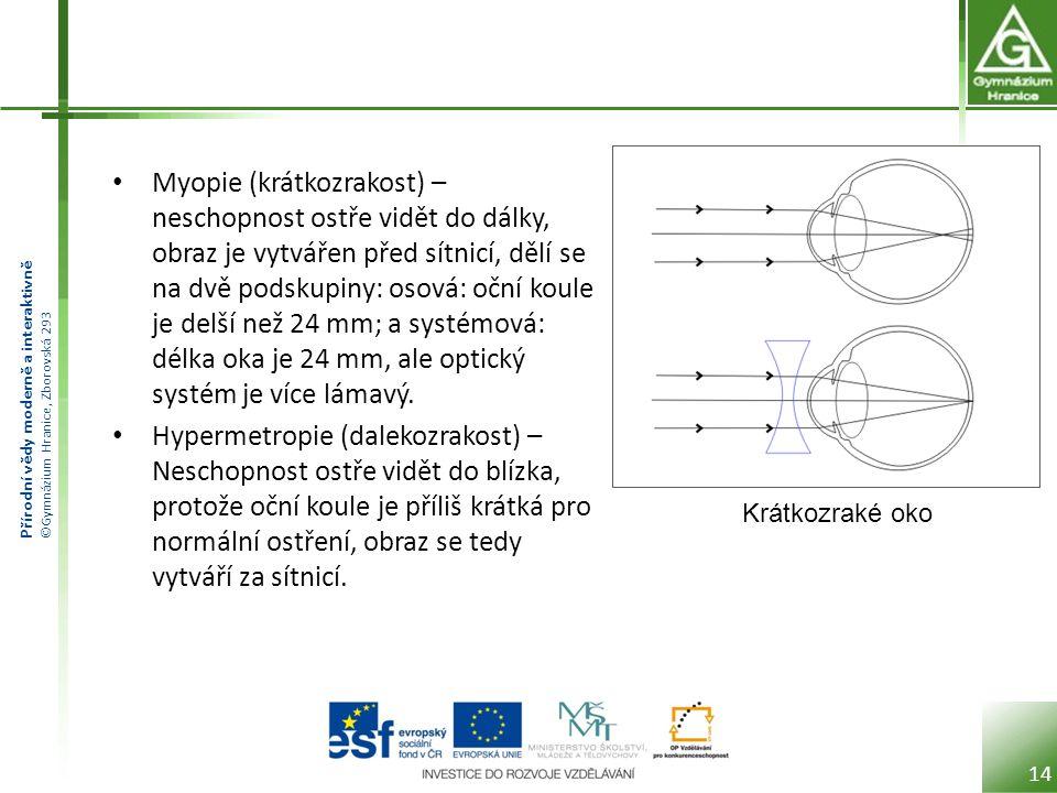 Přírodní vědy moderně a interaktivně ©Gymnázium Hranice, Zborovská 293 Myopie (krátkozrakost) – neschopnost ostře vidět do dálky, obraz je vytvářen před sítnicí, dělí se na dvě podskupiny: osová: oční koule je delší než 24 mm; a systémová: délka oka je 24 mm, ale optický systém je více lámavý.