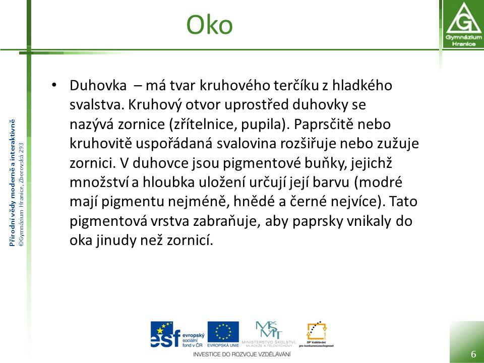 Přírodní vědy moderně a interaktivně ©Gymnázium Hranice, Zborovská 293 Oko Duhovka – má tvar kruhového terčíku z hladkého svalstva.