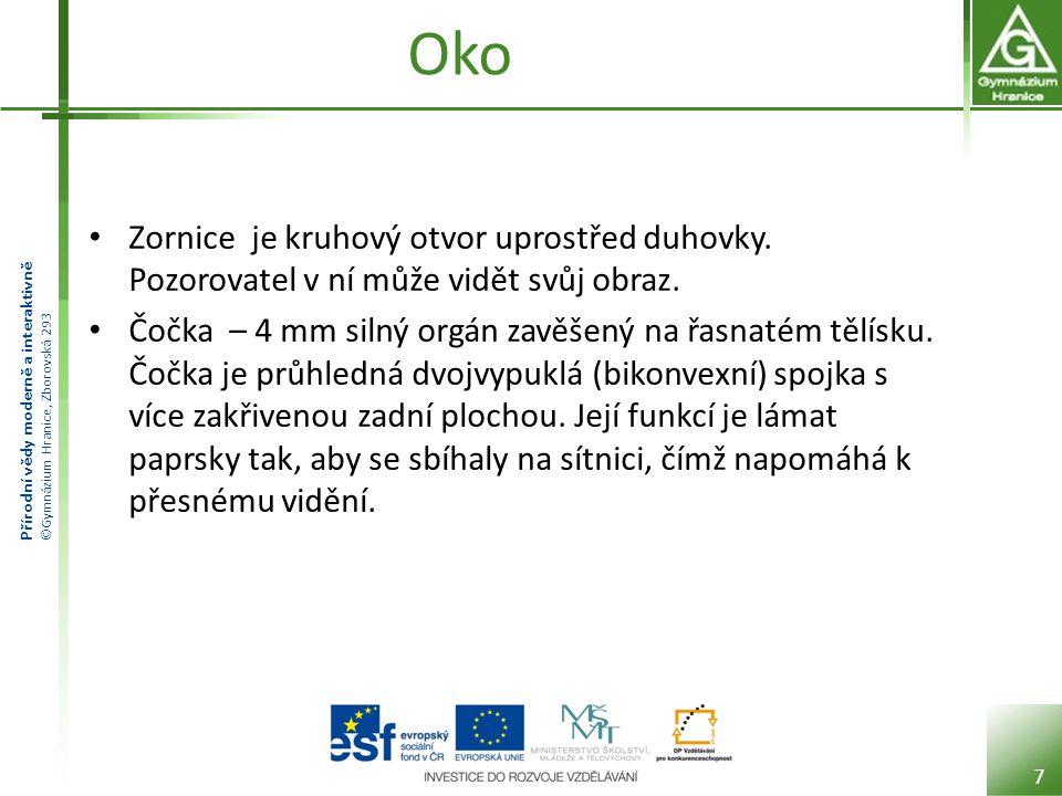 Přírodní vědy moderně a interaktivně ©Gymnázium Hranice, Zborovská 293 oko Sítnice – jemná několikavrstevná blána silná asi 0,2 – 0,4 mm.