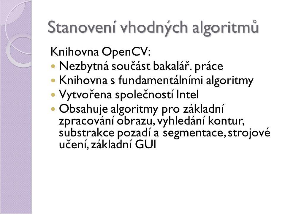 Stanovení vhodných algoritmů Knihovna OpenCV: Nezbytná součást bakalář.
