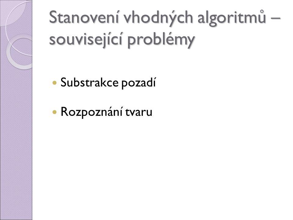 Stanovení vhodných algoritmů – související problémy Substrakce pozadí Rozpoznání tvaru