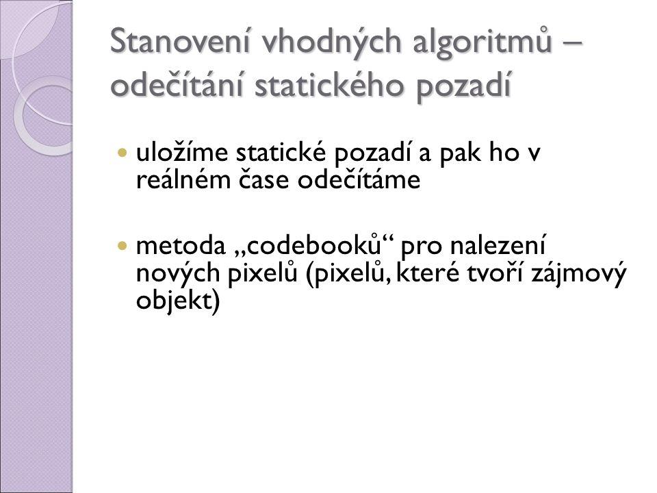 """Stanovení vhodných algoritmů – odečítání statického pozadí uložíme statické pozadí a pak ho v reálném čase odečítáme metoda """"codebooků pro nalezení nových pixelů (pixelů, které tvoří zájmový objekt)"""