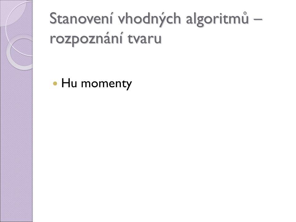 Stanovení vhodných algoritmů – rozpoznání tvaru Hu momenty