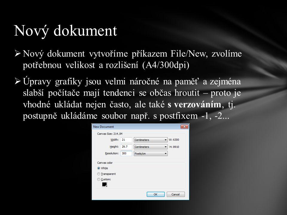  Nový dokument vytvoříme příkazem File/New, zvolíme potřebnou velikost a rozlišení (A4/300dpi)  Úpravy grafiky jsou velmi náročné na paměť a zejména slabší počítače mají tendenci se občas hroutit – proto je vhodné ukládat nejen často, ale také s verzováním, tj.