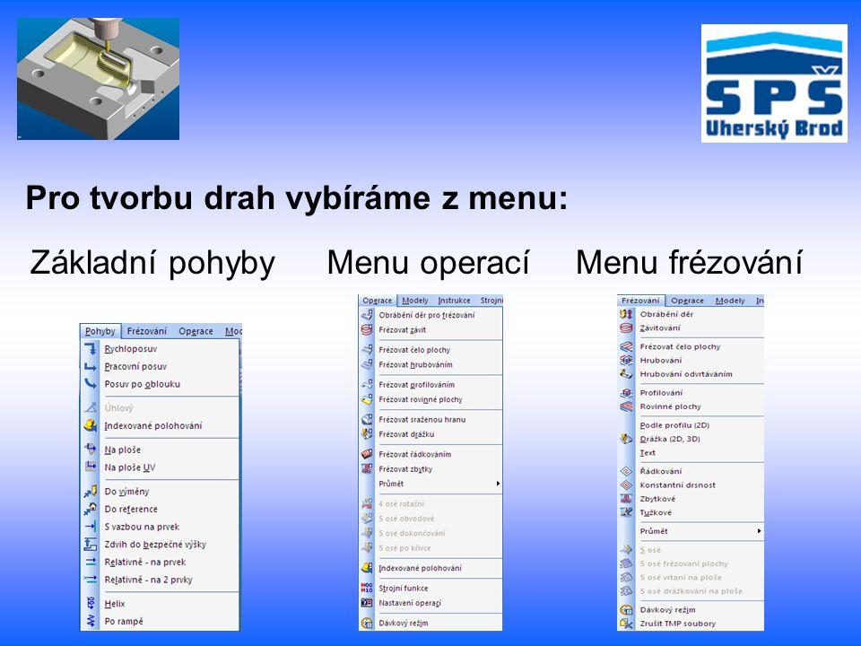 Pro tvorbu drah vybíráme z menu: Základní pohybyMenu operacíMenu frézování