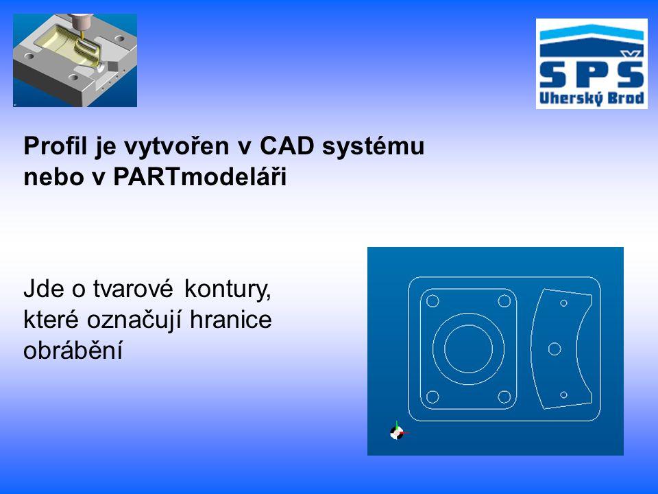 Profil je vytvořen v CAD systému nebo v PARTmodeláři Jde o tvarové kontury, které označují hranice obrábění