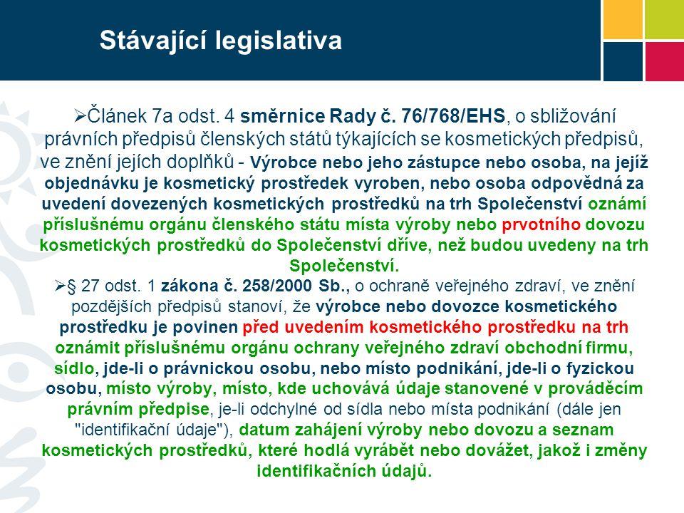 Stávající legislativa  Článek 7a odst. 4 směrnice Rady č. 76/768/EHS, o sbližování právních předpisů členských států týkajících se kosmetických předp