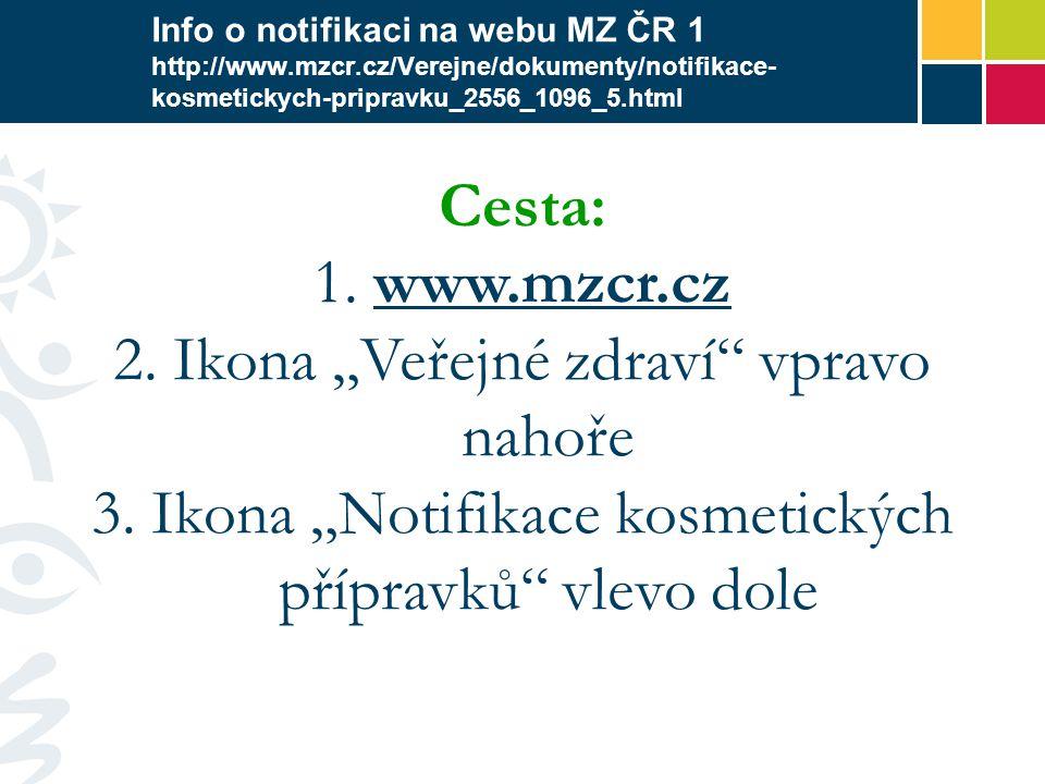 Info o notifikaci na webu MZ ČR 1 http://www.mzcr.cz/Verejne/dokumenty/notifikace- kosmetickych-pripravku_2556_1096_5.html Cesta: 1. www.mzcr.czwww.mz