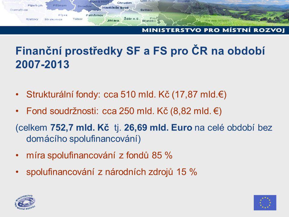 Finanční prostředky SF a FS pro ČR na období 2007-2013 Strukturální fondy: cca 510 mld. Kč (17,87 mld.€) Fond soudržnosti: cca 250 mld. Kč (8,82 mld.