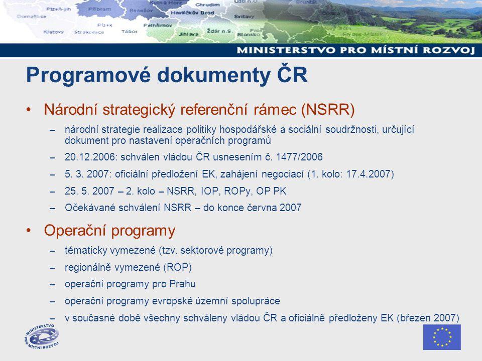Programové dokumenty ČR Národní strategický referenční rámec (NSRR) –národní strategie realizace politiky hospodářské a sociální soudržnosti, určující